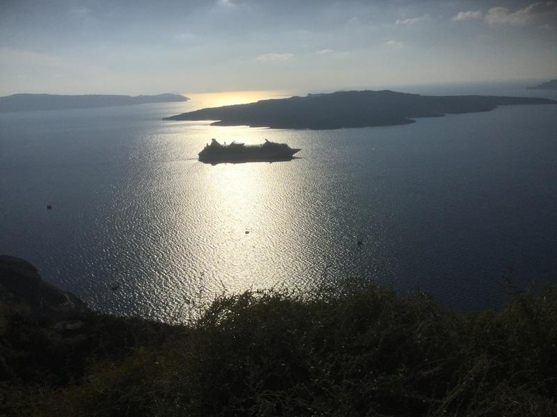 Rhapsody anchored off Santorini - Rhapsody of the Seas