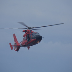 Rescue chopper approaching ship
