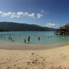 Beach on Labadee, early in the day.