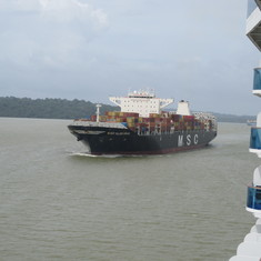 Ship in Gatun Lake headed to Pedro Miguel Locks from Gatun Locks.