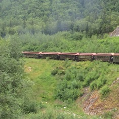 Skagway, Alaska - The classic rail cars of the train in Skagway.