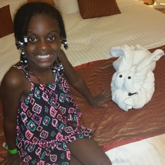 My daughter loving the towel animals