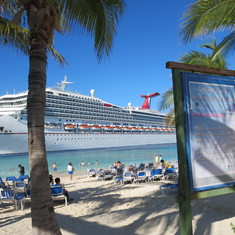 Carnival Conquest from beach in Grand Turk
