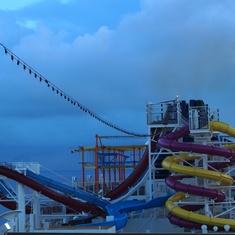 Water slides, early morning, NCL Breakaway