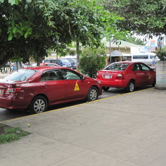 Taxis are red in Puntarenas