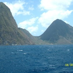 Castries, St. Lucia - The Pitons at St. Lucia on the Catamaran excursion