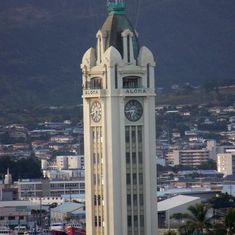 Honolulu, Oahu - clock tower from the ship