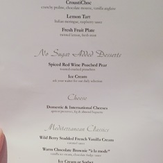 Main Dining Room - Dessert Menu