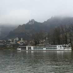 Scenic Cruising on the Danube - passing another Viking Longship docked