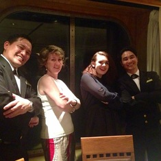 Our wonderful waiters at sea, Froilan and Mark (on QM2)
