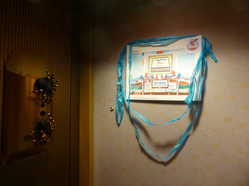 Happy Birthday Sign from Carnival on Cabin Door - Carnival Dream