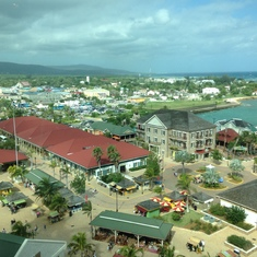 Bird's eye view of Falmouth, Jamaica over breakfast in the Windjammer.