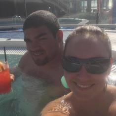 Drinks in the hot tub!