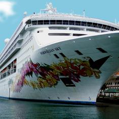 Nassau, Bahamas - Sky at her berth, Prince George Wharf, Nassau