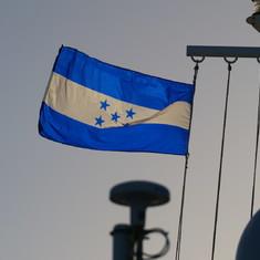 Honduran Flag at departure time from Vibe Beach Club on Deck 17 Forward