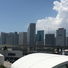 Miami skyline from the ship