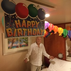 Birthday decorations in our stateroom