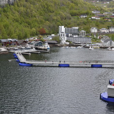 The pier in Geiranger extends to meet the ship!
