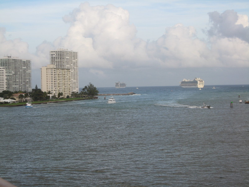 Great departure, from Lauderdale, Ruby and Caribbean Princess just ahead of us  - Coral Princess