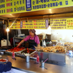 Incheon (Seoul). South Korea - Vendors at outdoor shopping area