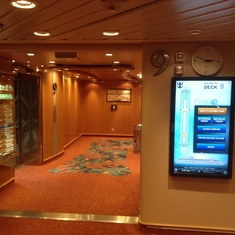 Lift area also interactive map of ship