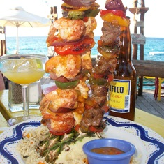 Amazing skewers at Margaritaville, Cozumel
