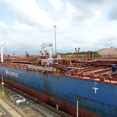 Panama Canal Transit - Another tanker in the lock beside the cruise ship