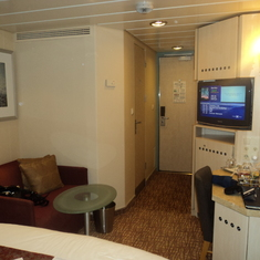 Inside stateroom looking towards door from bed