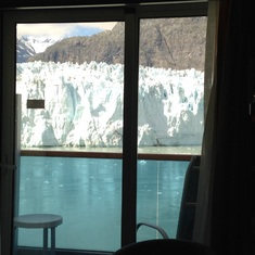 We watched the glaciers from inside our rooms and from our balcony.