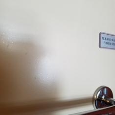 bathroom door first 10 minutes in room