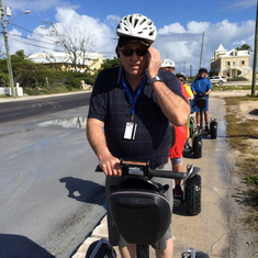 Mert driving his 'Segway' in Grand Turk.