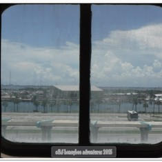 View from the window in E160 while still docked at Port Canaveral