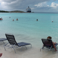 The private beach and a view of our ship at Half Moon Cay