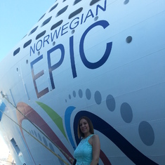 My wife Maggie outside Epic cruise in Palma Spain during our honeymoon.  Luv her