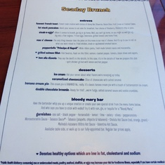 Seaday Brunch menu
