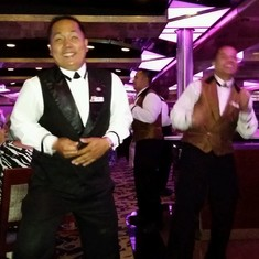 our waiter Joey dancing