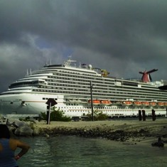 Carnival Magic docked at Roatan, Mexico