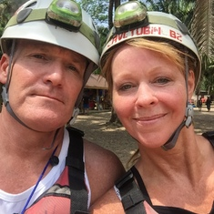 Belize City, Belize - Getting ready to zip-line