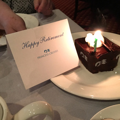 A nice surprise from Princess: a dessert congratulating us on our retirements.