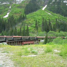 Aboard the White Pass train in Skagway, AK