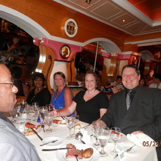 Our late seating dinner companions.  Myself in the foreground, to the right.