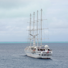 Bora Bora, French Polynesia - Four masted cruiser