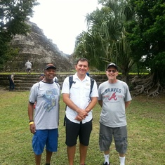Here we are at the Chacchoben ruins in Costa Maya with our Mayan tour guide.