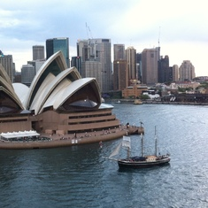 Sydney, Australia - The opera house and Endeavour in Sydney Harbour