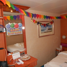 decorated for my birthday by our steward while we went to eat dinner!