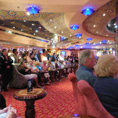 Room for chairs but folks had to stand in the back of the El Morocco night club.