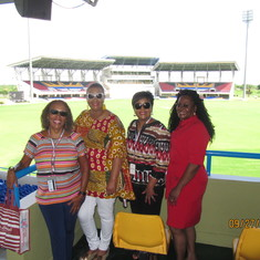 Friends Luesette, Ethel, Sharon, & Ida at Antigua's national cricket stadium