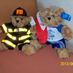 "Our ""build a bear"" bears we did for our grandsons."