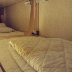 Picture of stained bedding in cabin