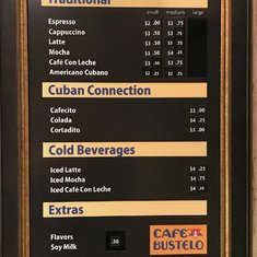 coffee bar menu